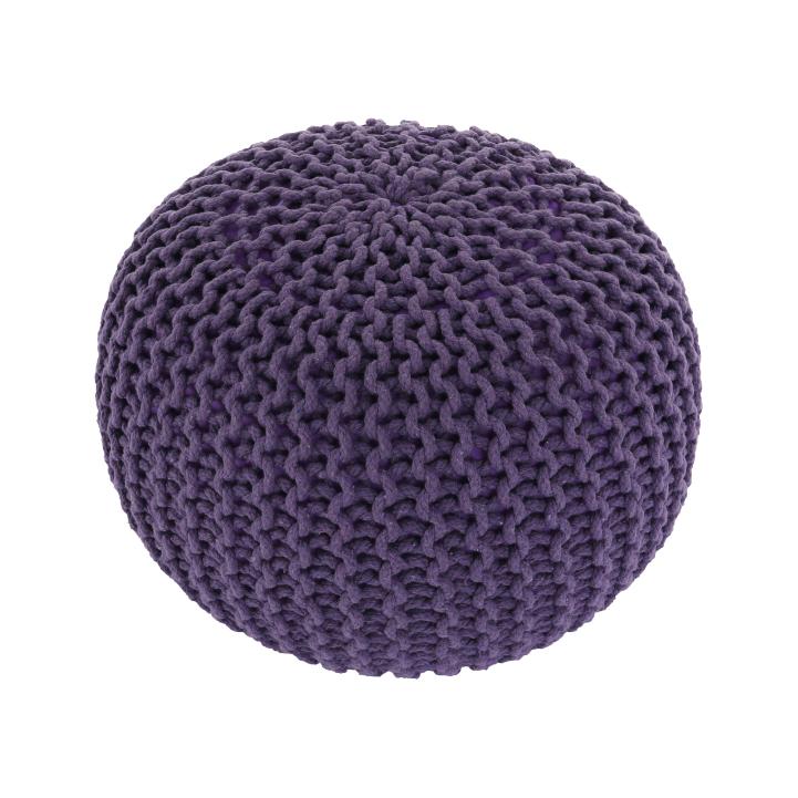 Pletený taburet, fialová bavlna, GOBI TYP 2, detail