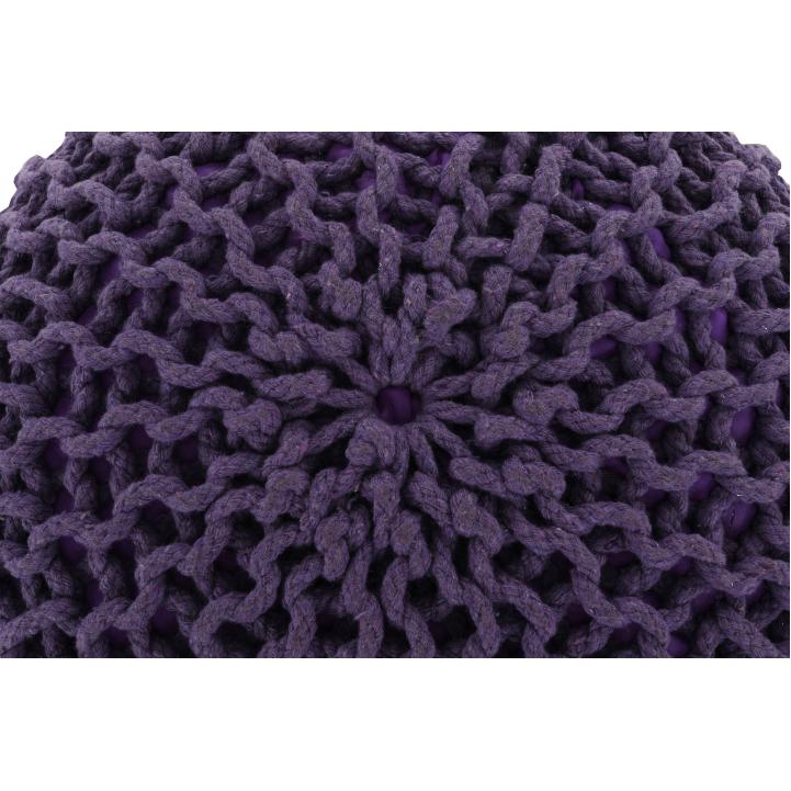 Pletený taburet, fialová bavlna, GOBI TYP 2, poťah