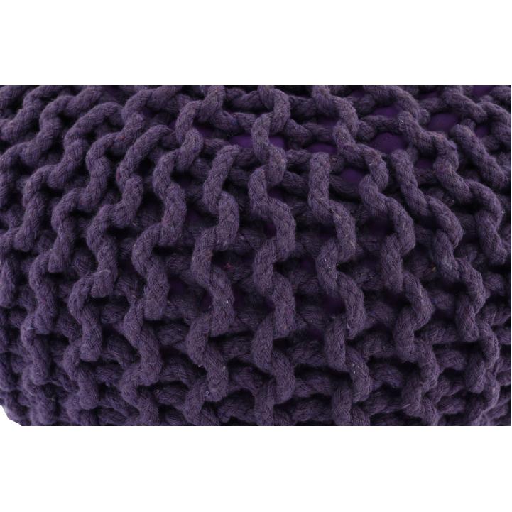 Pletený taburet, fialová bavlna, GOBI TYP 2, poťahová látka