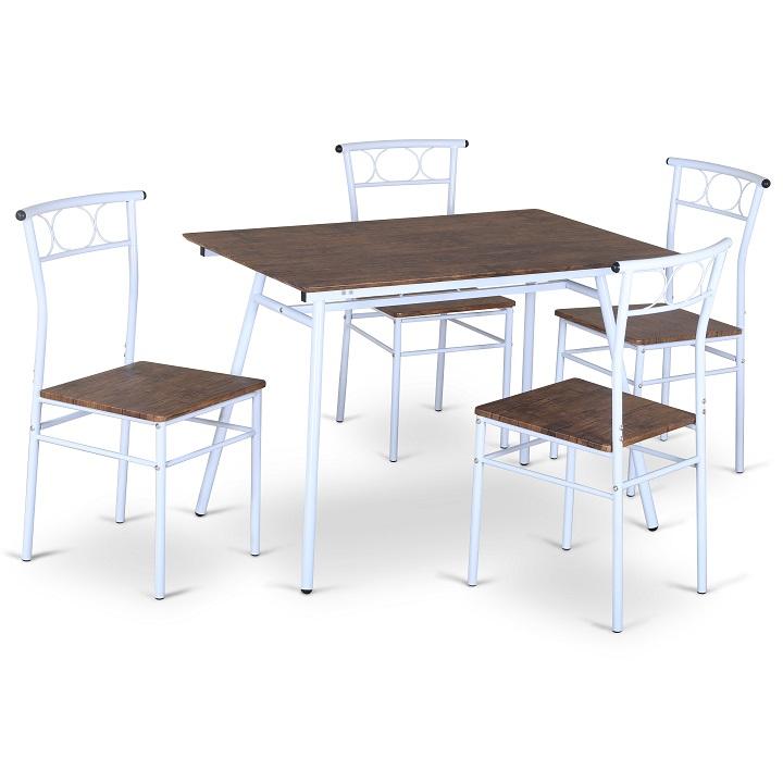 Jedálenský set 1+4, drevo/biely kov, MALABO