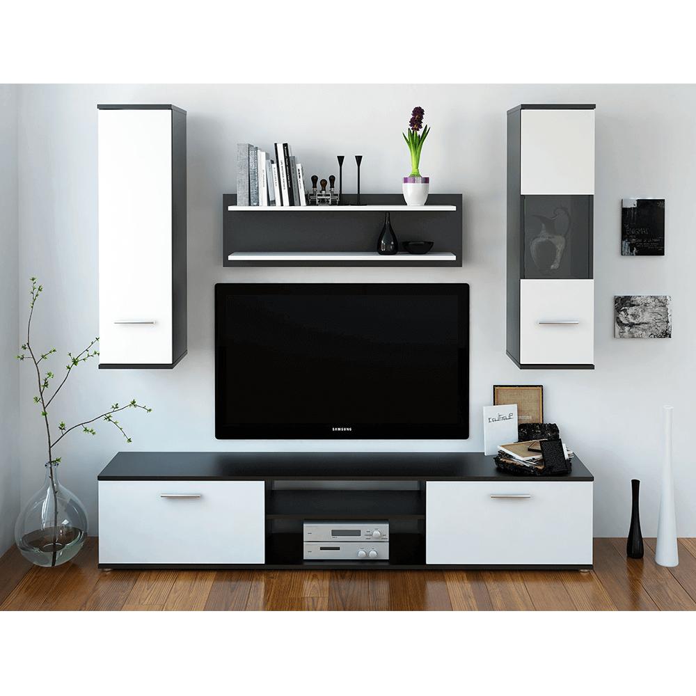 Nappali szekrénysor, fekete/fehér, WAW NEW