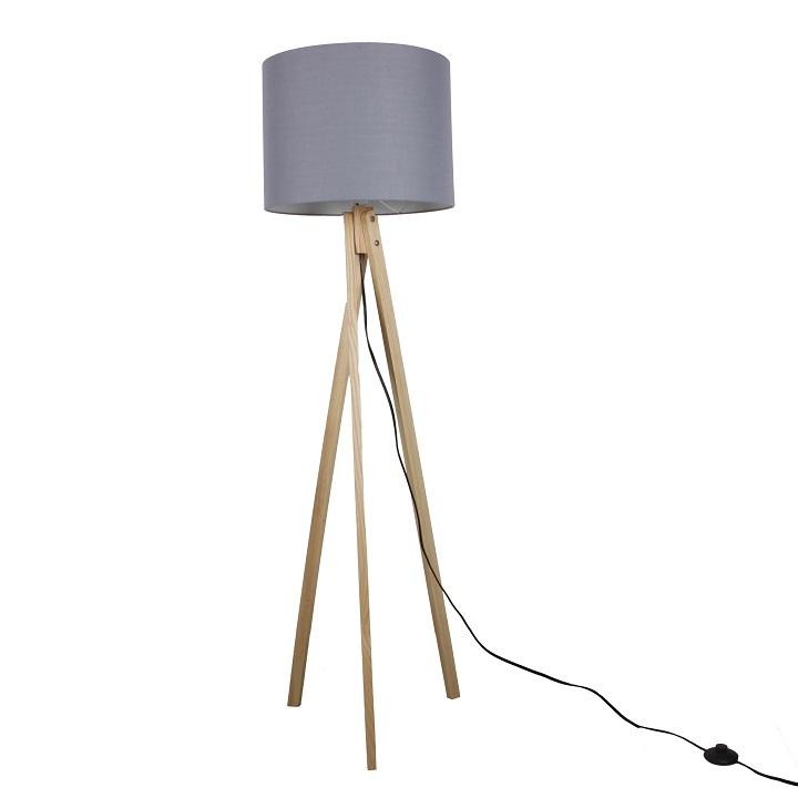 Stojacia lampa, sivá/prírodné drevo, na bielom pozadí, LILA Typ 7 LS2062