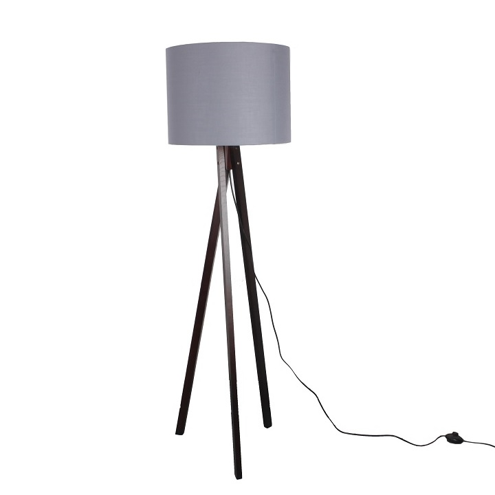Stojacia lampa, sivá/drevo čierne, LILA Typ 10 LS6026