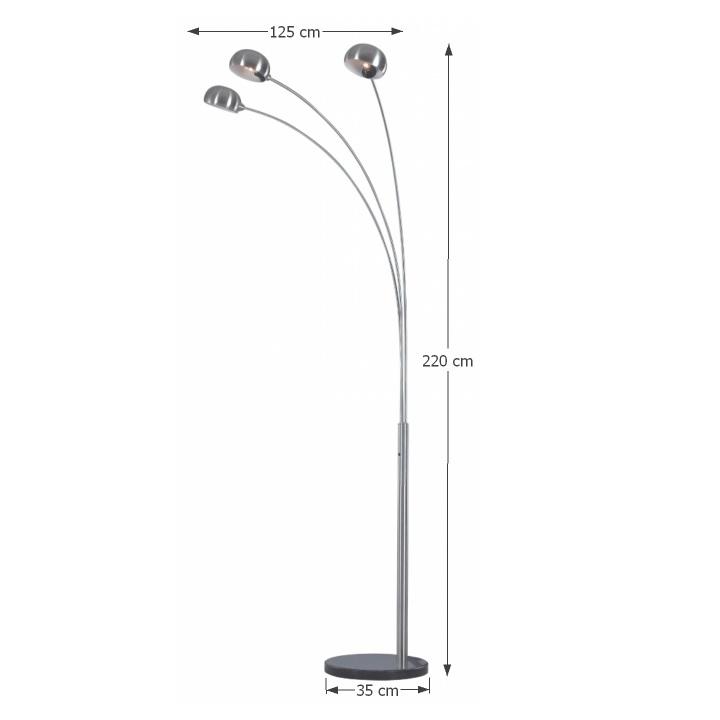 Stojacia lampa, sivý kov/mramor, s rozmermi, CINDA Typ 1 YF04-3