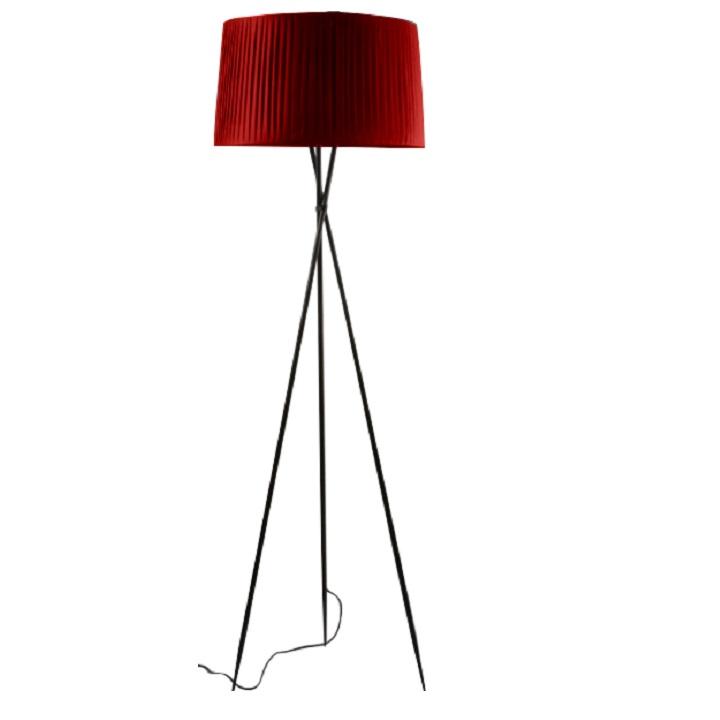 Stojacia lampa, kov/červené tienidlo, CINDA Typ 11 YF10R