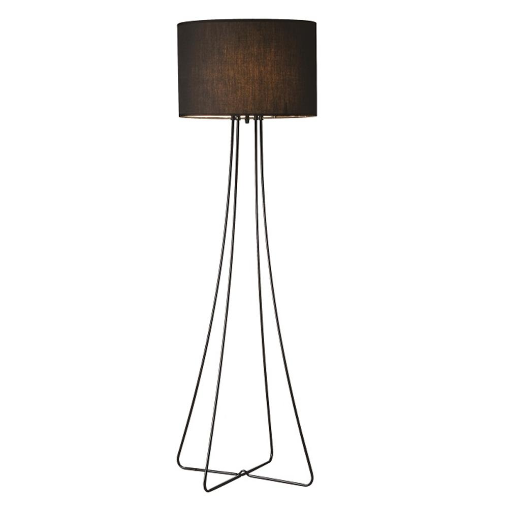 Lampă pe picior, metal negru/material, CINDA TYP 12 F4813