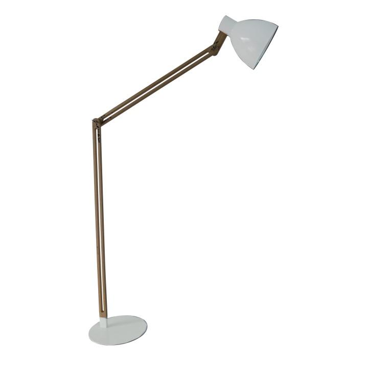 Stojacia lampa, hliník biela/drevo, CINDA  Typ 19 YF6044