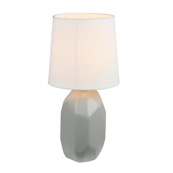 Keramická stolná lampa, sivá, QENNY TYP 2
