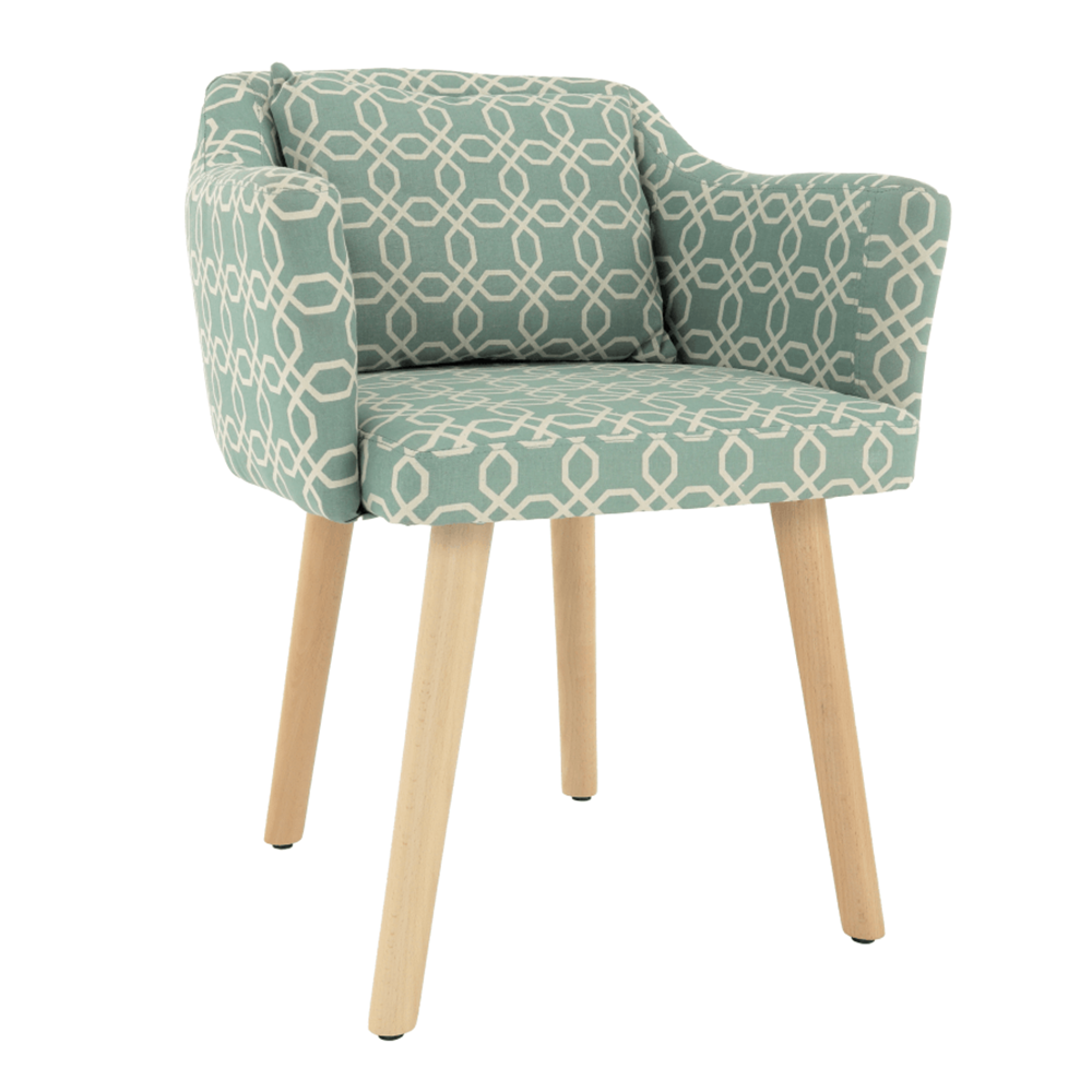 Dizájn fotel, zöld minta, DIPSY