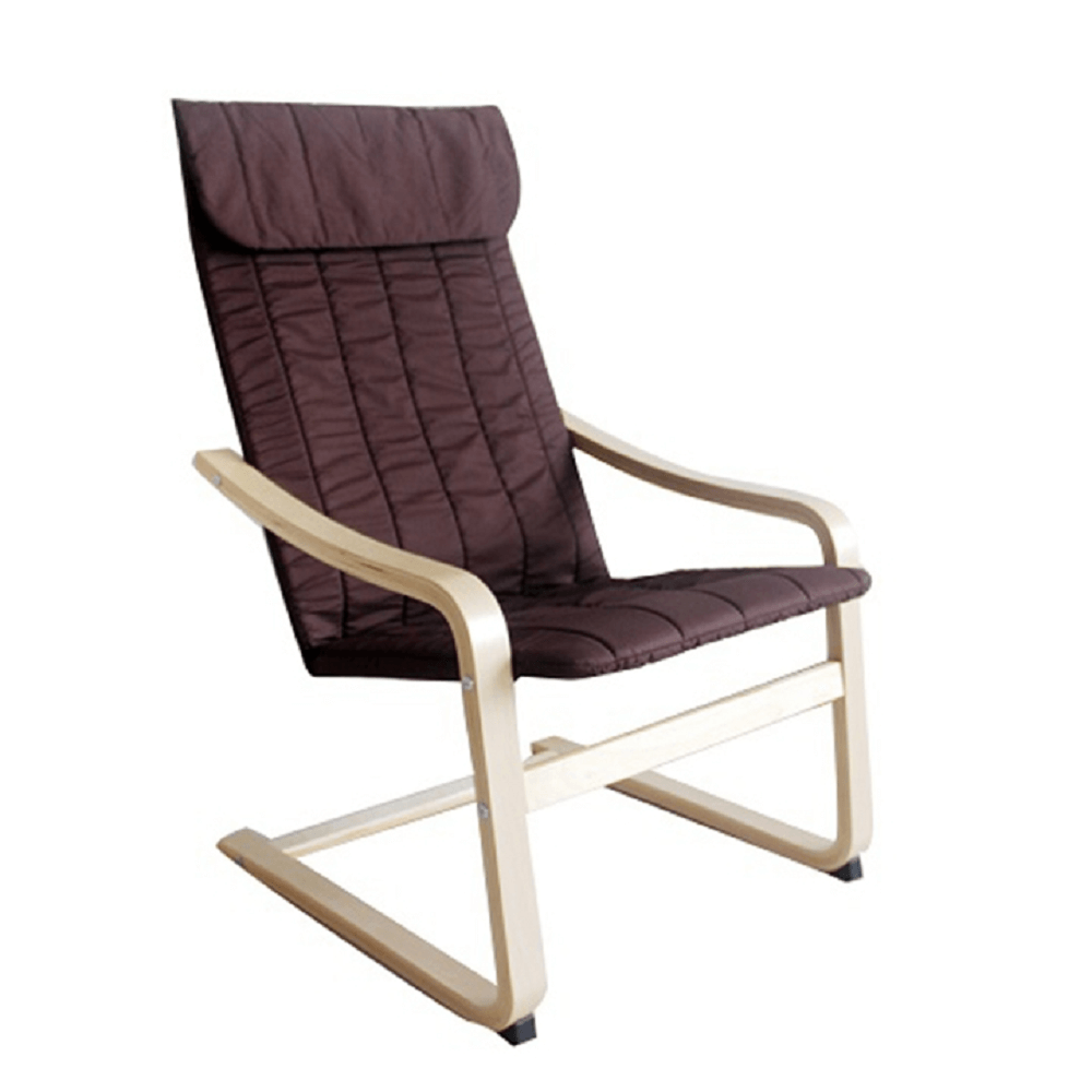 Fotoliu relaxant, lemn de mesteacăn/material maro, TORSTEN
