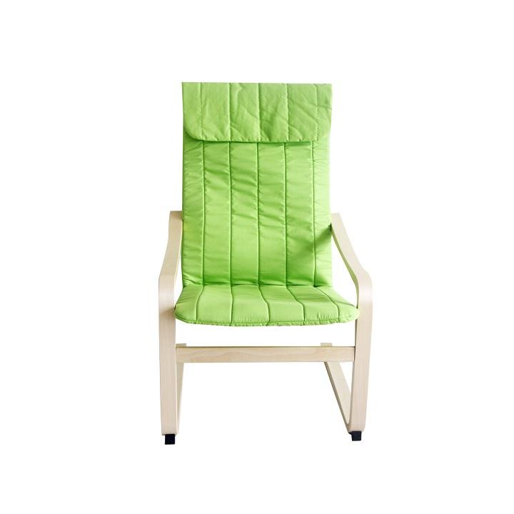Relaxačné kreslo, brezové drevo/zelená látka, TORSTEN, pohľad spredu