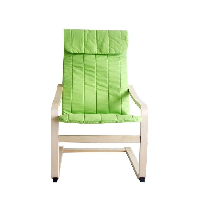 Relaxačné kreslo, brezové drevo/zelená látka, TORSTEN, na bielom pozadí