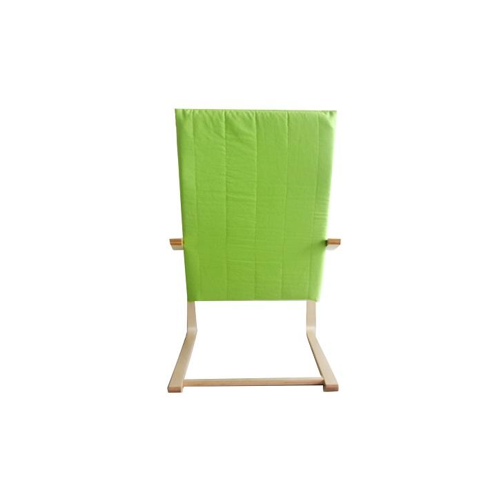 Relaxačné kreslo, brezové drevo/zelená látka, TORSTEN, zadná strana