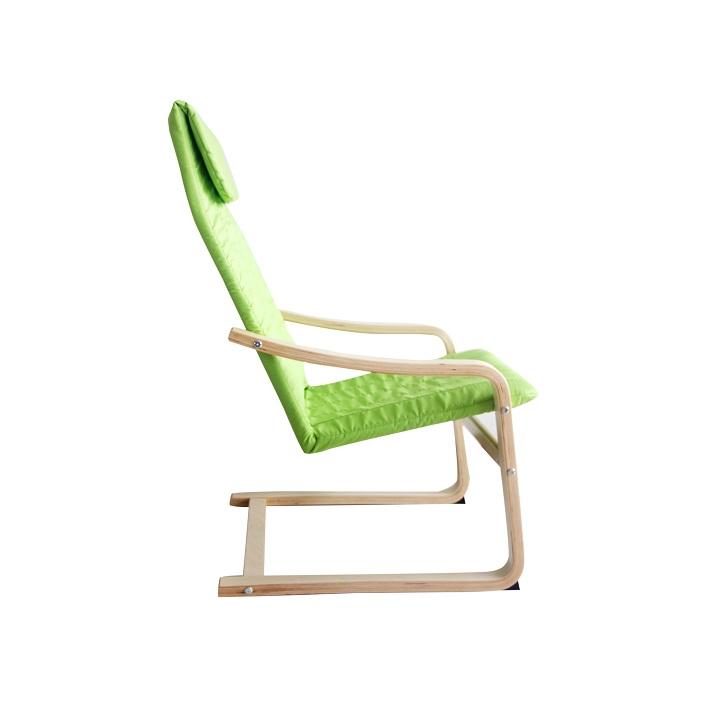 Relaxačné kreslo, brezové drevo/zelená látka, TORSTEN, detail z boku