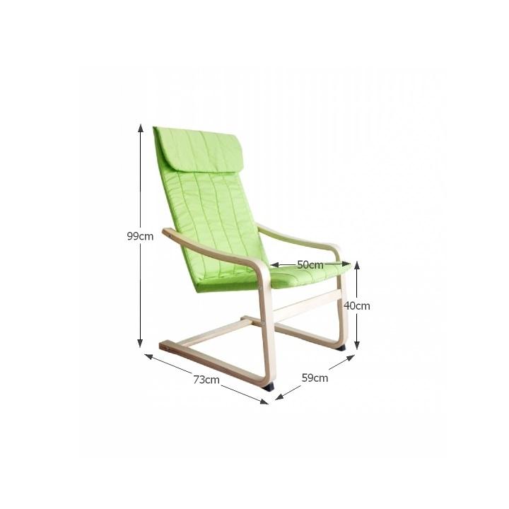 Relaxačné kreslo, brezové drevo/zelená látka, TORSTEN, s rozmermi