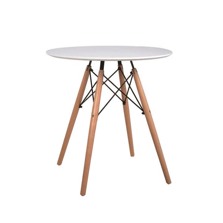 Jedálenský stôl,  biela/buk, kov/drevo, na bielom pozadí, GAMIN 60