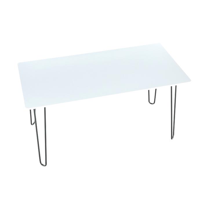 Jedálenský stôl, biela extra vysoký lesk/kov, KURT