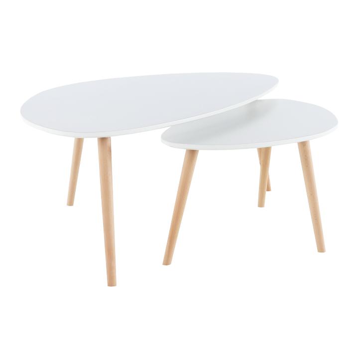 Set 2 konferenčných stolíkov,  biela/buk, FOLKO