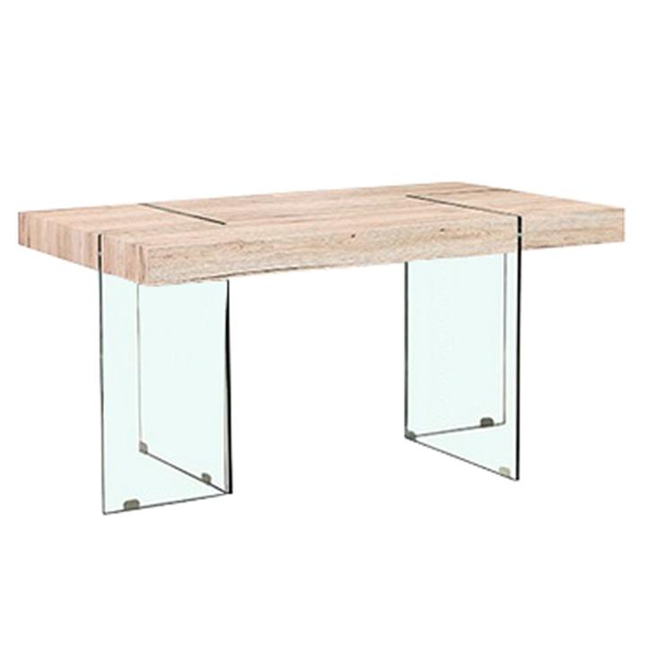 Jedálenský stôl, MDF/ tvrdené sklo, PASKAL, na bielom pozadí