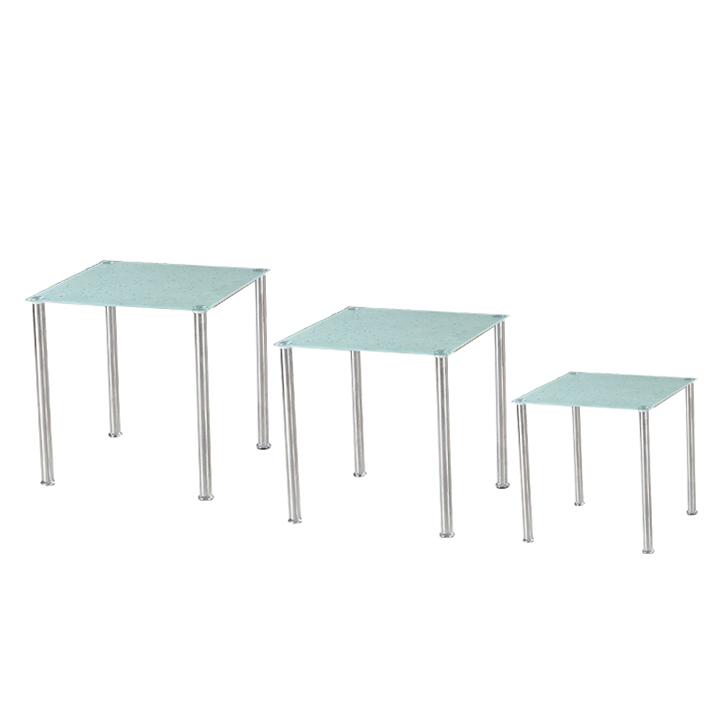 Sada 3 príručných stolíkov, tvrdené sklo/oceľ, NESTOR, na bielom pozadí