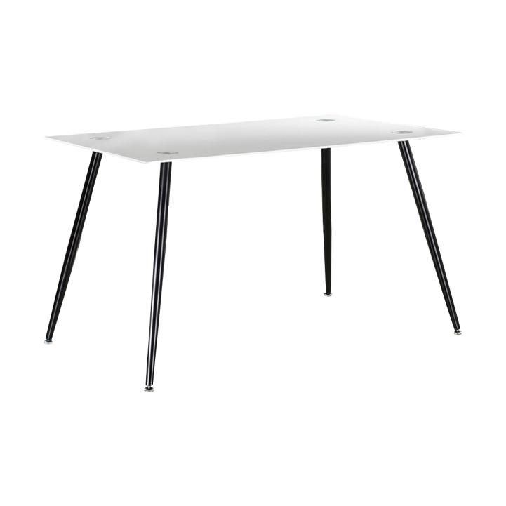 Jedálenský stôl, biele sklo/čierny kov, ADMER