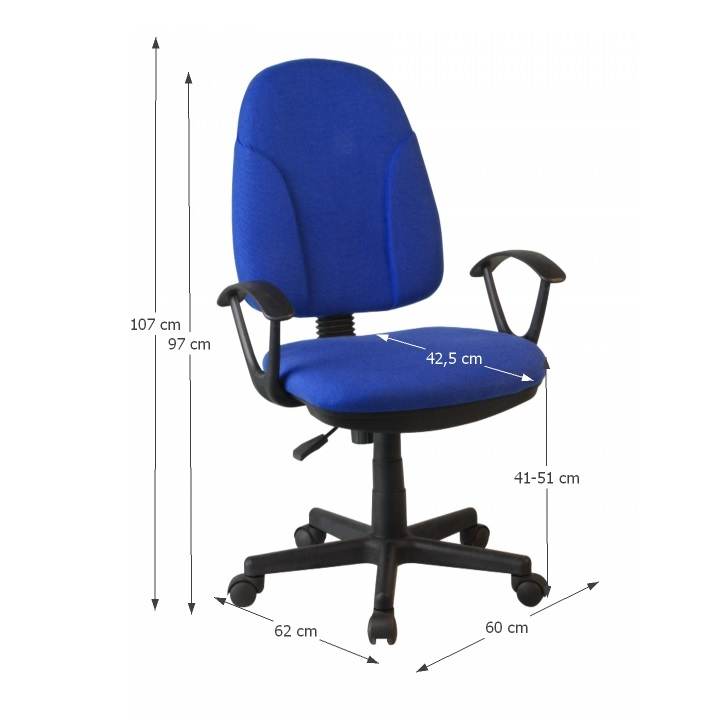 Kancelárska stolička, modrá látka, s rozmermi, DEVRI