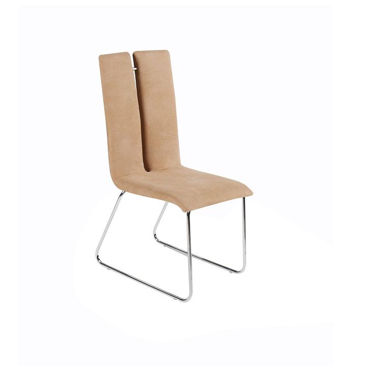 Jedálenská stolička, béžová, MERT, na bielom pozadí