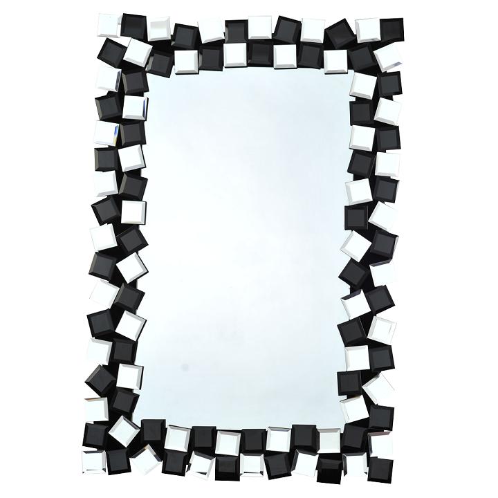Zrkadlo, čierna/biela, ELISON TYP 8, na bielom pozadí