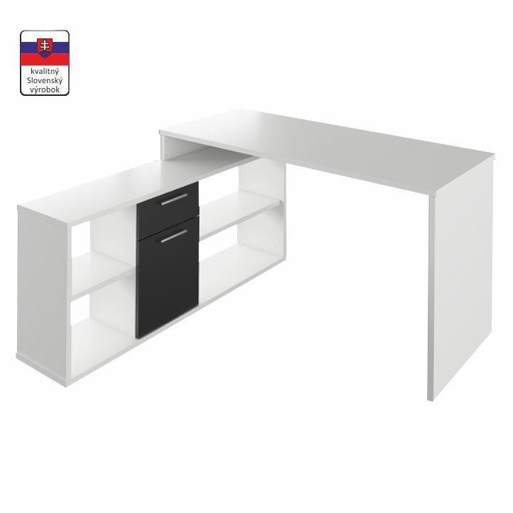 PC stôl, biela/čierna, NOE NEW, na bielom pozadí