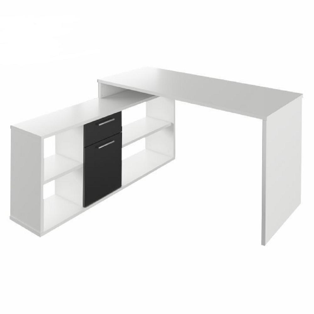 Masă PC, albă/neagră, NOE NEW