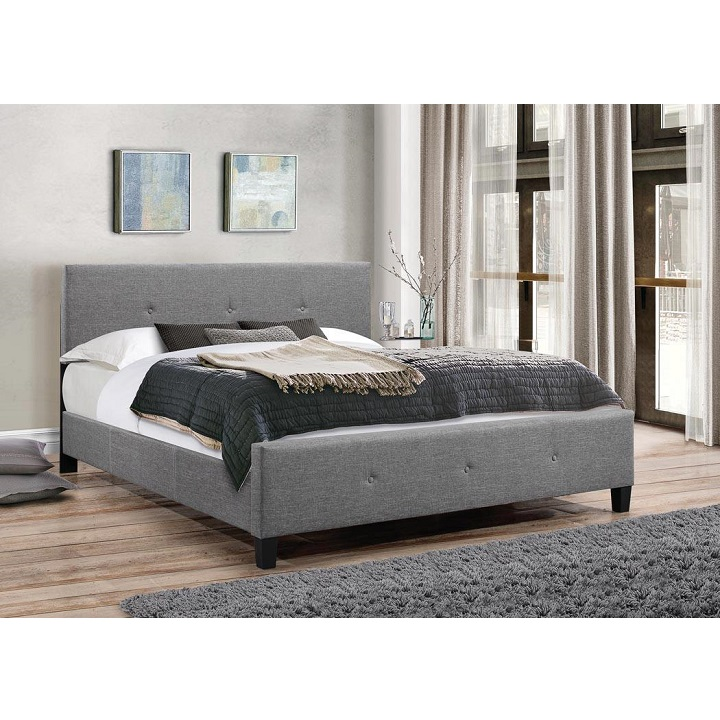 Manželská posteľ s roštom,  sivá látka, čierne nohy,  180x200, detail postele v interiéri, ATALAYA