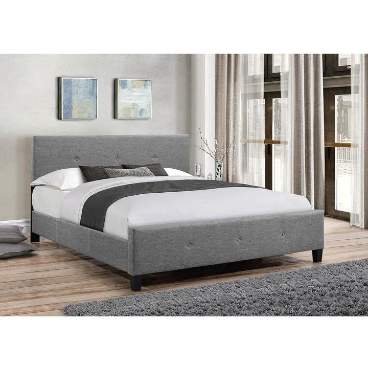 Manželská posteľ s roštom,  sivá látka, čierne nohy,  180x200, interiérová fotka, ATALAYA