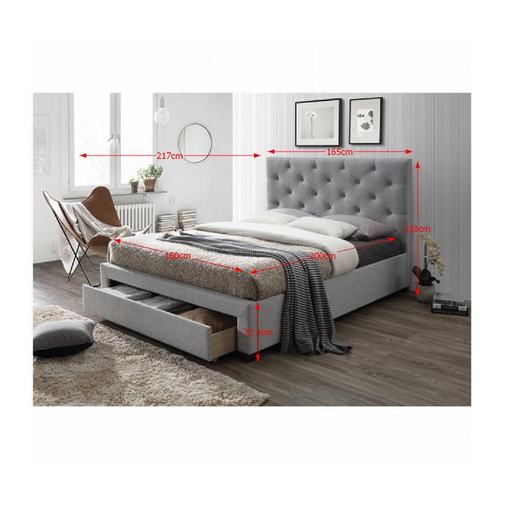 Moderná posteľ s úložným priestorom, sivá látka, 160x200, SANTOLA, s rozmermi