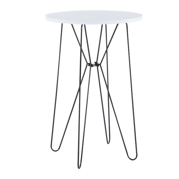 Príručný stolík, biela/čierne nohy, RUBEN, detail z predu