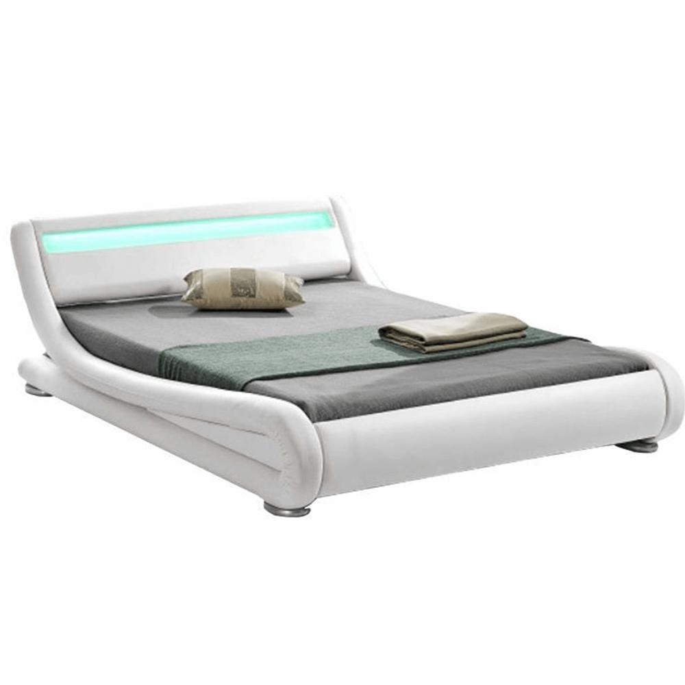 Pat modern cu RGB LED iluminare, alb, 180x200, FILIDA