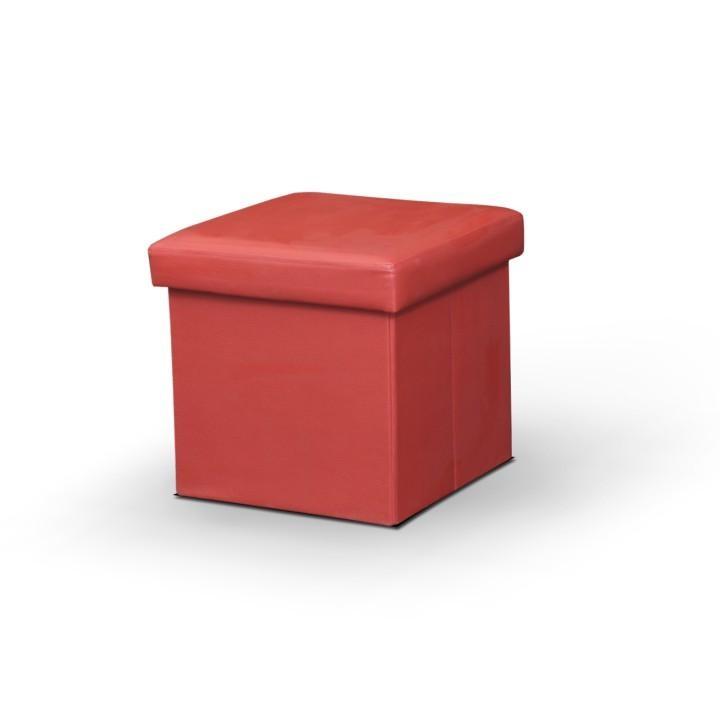 Skladací taburet, ekokoža červená, s úložným priestorom, TELA NEW