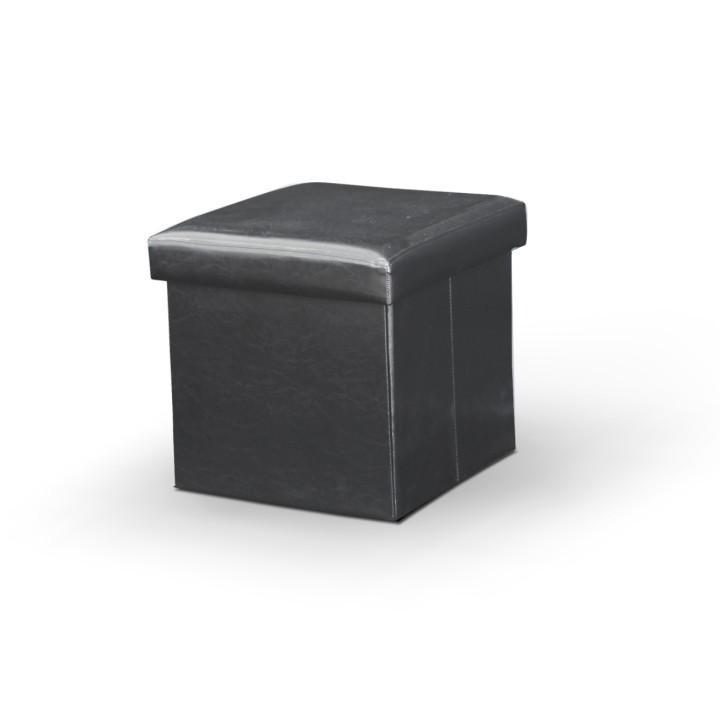 Skladací taburet, ekokoža čierna, s úložným priestorom, TELA NEW