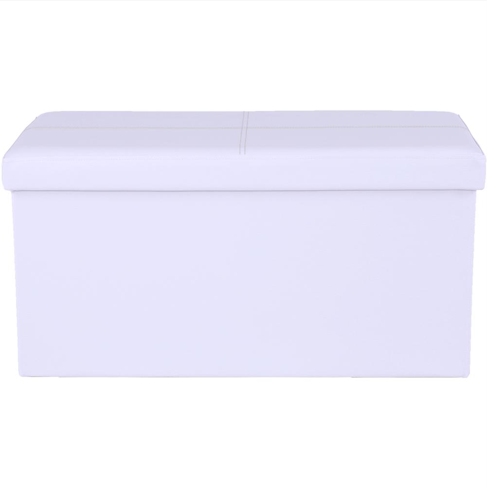Taburet pliabil, piele ecologică albă, IMRA