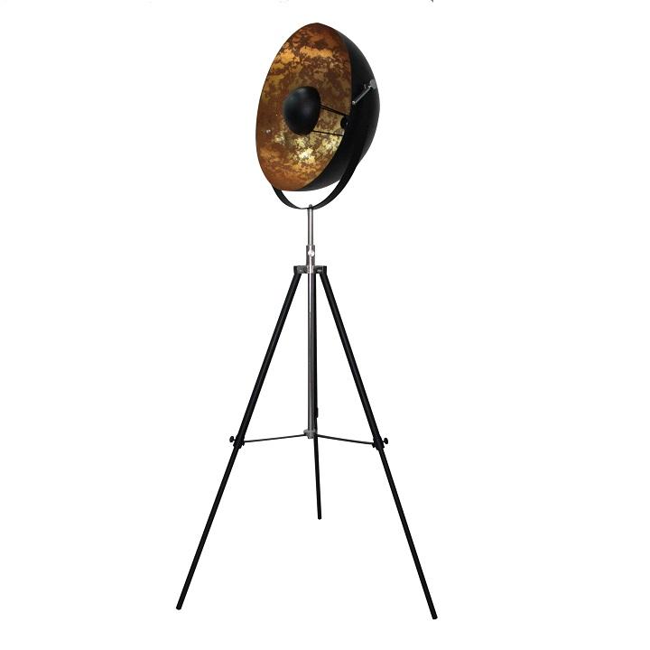 Stojacia lampa, čierna/zlatá, na bielom pozadí, JADE TYP 6 8008-18A