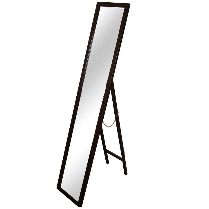 Zrkadlo, drevený rám hnedej farby, na bielom pozadí, MALKIA TYP 4