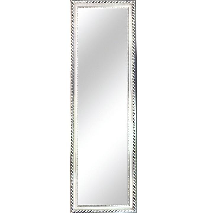 Zrkadlo, drevený rám striebornej farby, na bielom pozadí, MALKIA TYP 5
