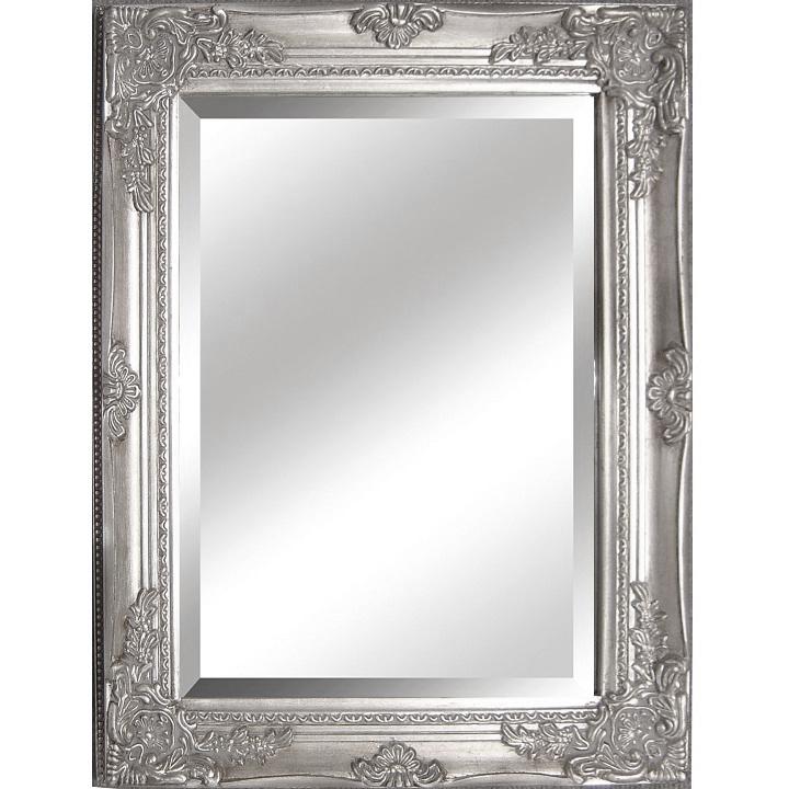 Zrkadlo s dreveným rámom striebornej farby, na bielom pozadí, MALKIA TYP 6