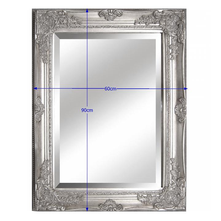 Zrkadlo s dreveným rámom striebornej farby, s rozmermi, MALKIA TYP 6