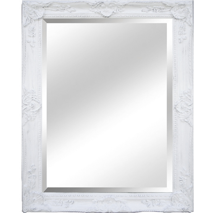 Zrkadlo, biely rám, na bielom pozadí, MALKIA TYP 9