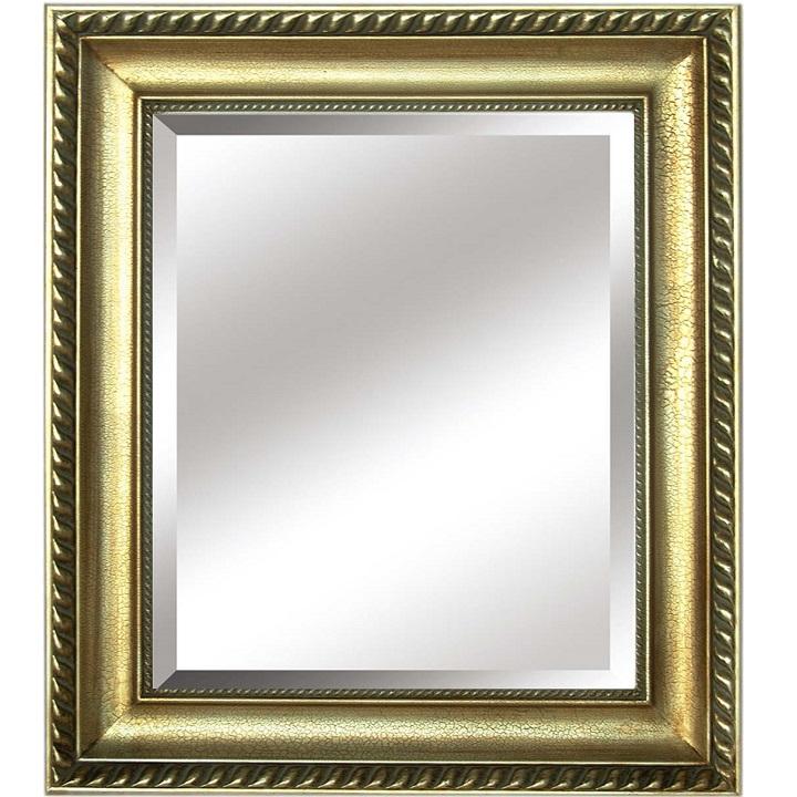 Zrkadlo, zlatý rám, na bielom pozadí, MALKIA TYP 10