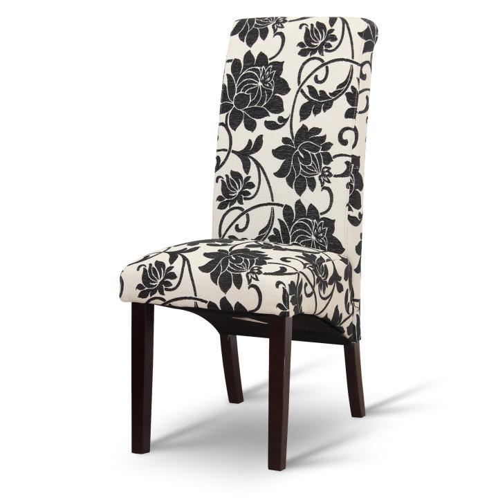 Jedálenská stolička, biela/tmavý orech, na bielom pozadí, JUDY 2 NEW