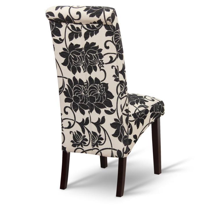 Jedálenská stolička, biela/tmavý orech, pohľad zozadu, JUDY 2 NEW