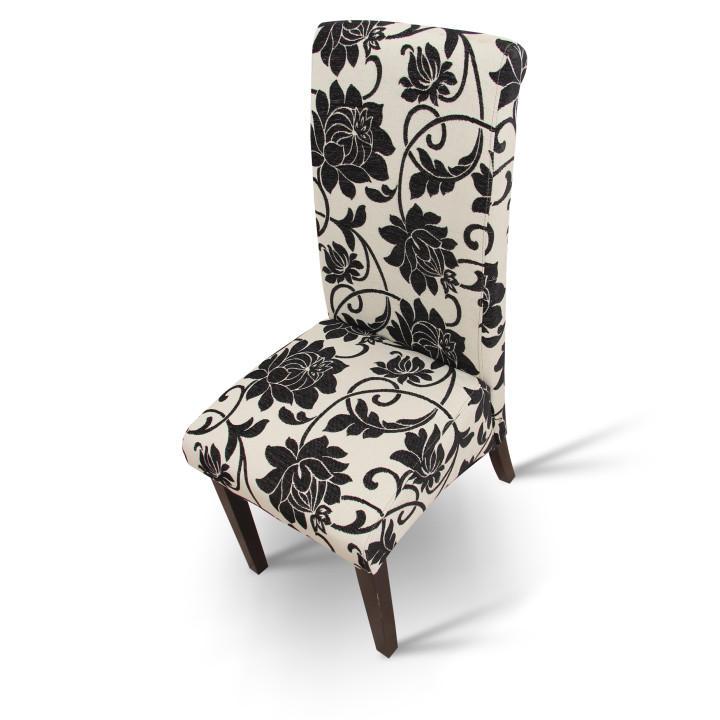 Jedálenská stolička, biela/tmavý orech, pohľad z hora, JUDY 2 NEW