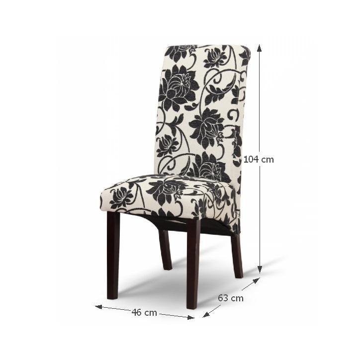 Jedálenská stolička, biela/tmavý orech, s rozmermi, JUDY 2 NEW