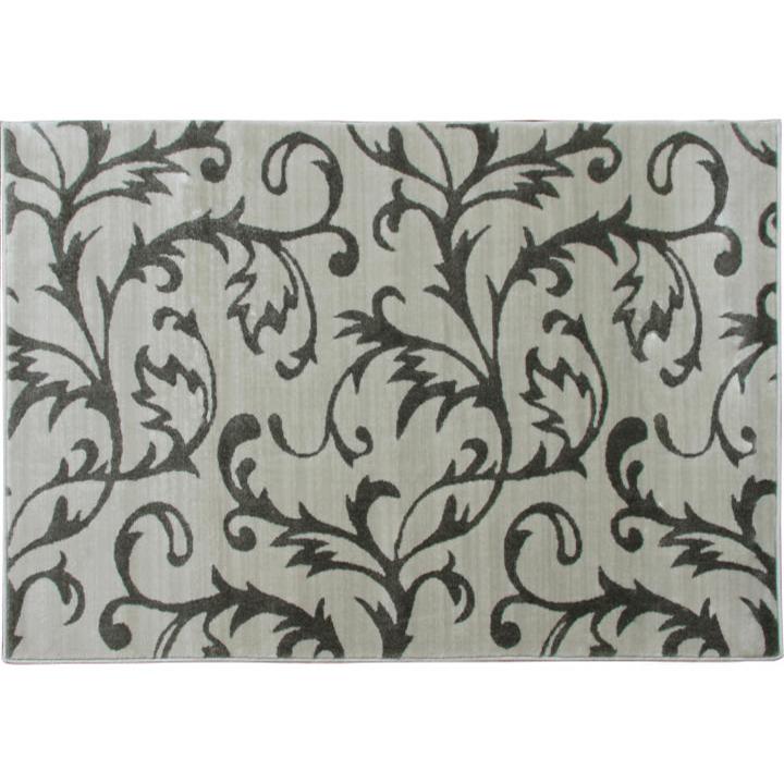 Koberec, krémová/sivý vzor, 57x90, 100% polypropylén, GABBY